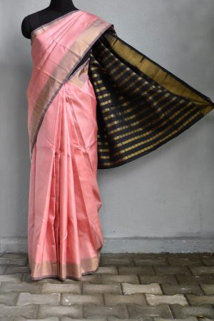 Dusty pink kanchi silk saree with black zari pallu 1