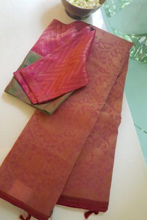 Dusty pink organza kancheepuram silk 2