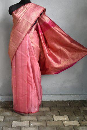 Dusty pink organza kancheepuram silk