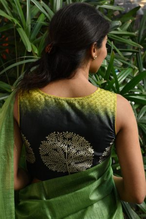 Green black shaded tussar blouse back