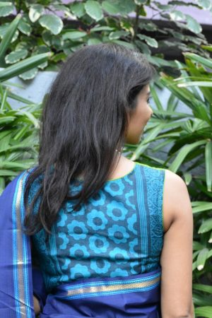 Green blue shaded tussar blouse