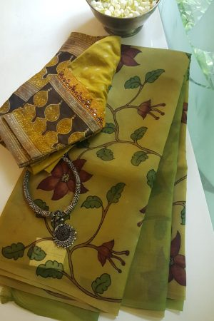 Green kalamkari organza partly pallu saree 2