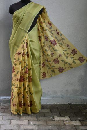 Green kalamkari organza partly pallu saree