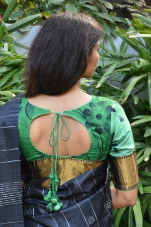 Green painted tussar blouse