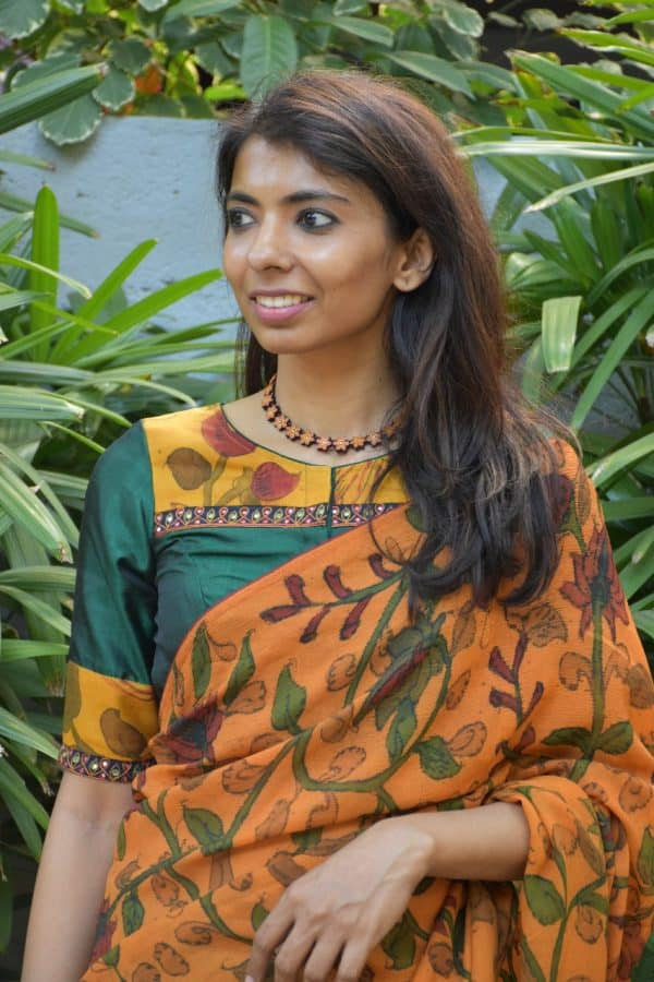 Green silk kalamkari blouse