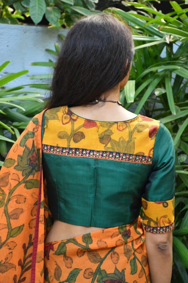 Green silk kalamkari blouse back
