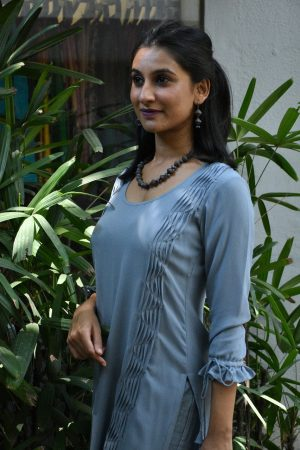 Grey georgette kurta 1