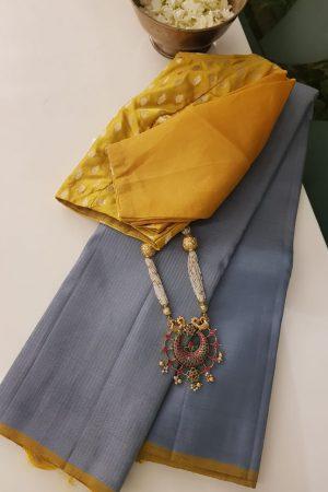 Grey rising design kanchi silk