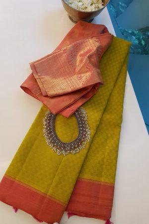 Lemon green matte kanchi silk saree