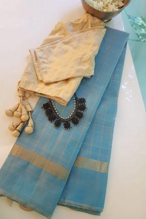 Light blue checks kanchi silk saree