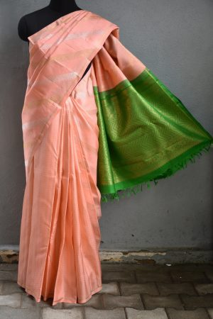 Light peach leheriya kanchi silk saree 1