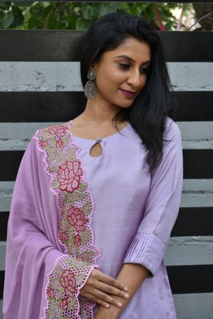 Lilac silk suit with cutwork dupatta 1
