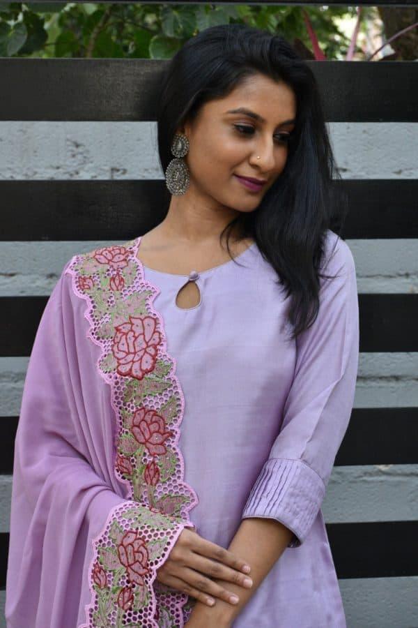 Lilac silk suit with cutwork dupatta 1
