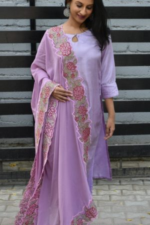Lilac silk suit with cutwork dupatta