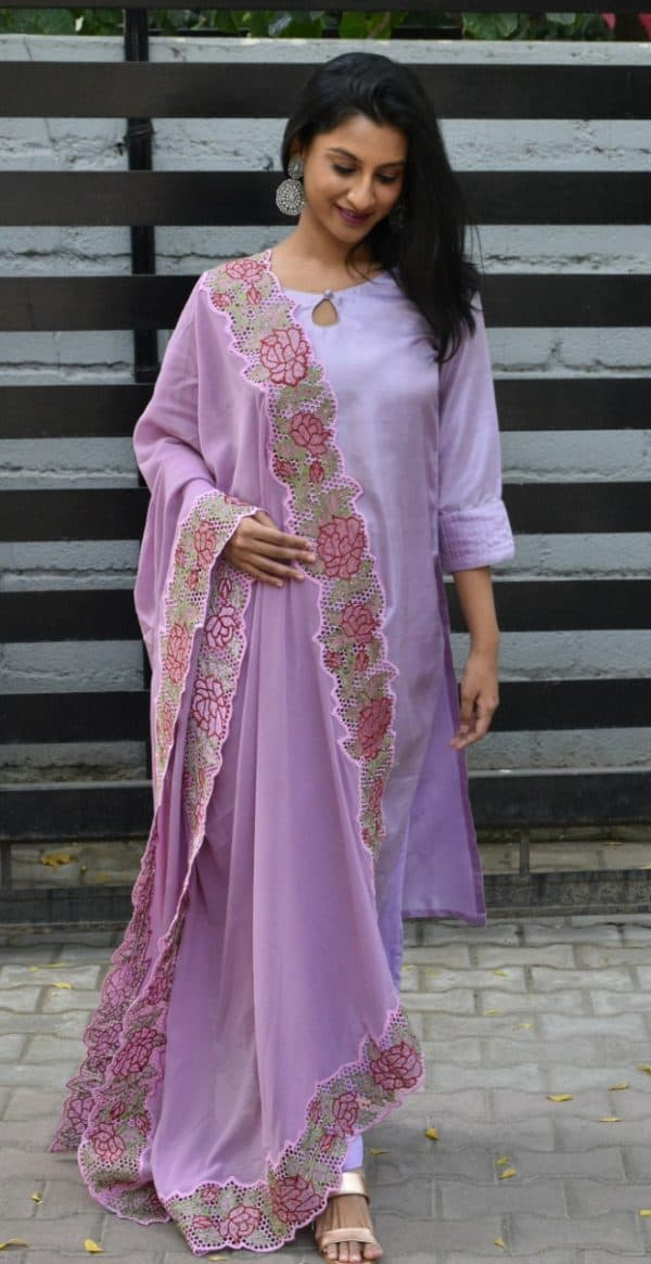 Lilac silk suit with cutwork dupatta