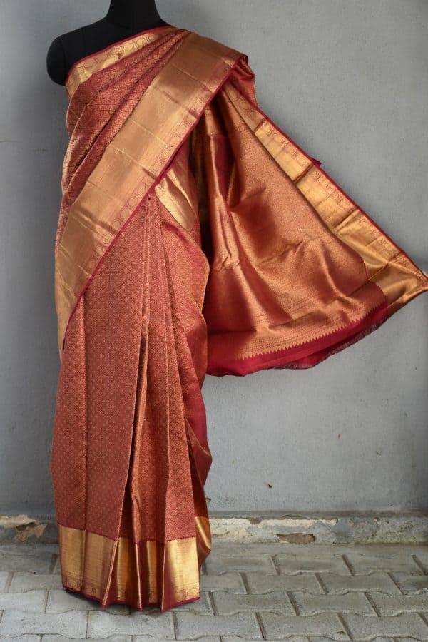 Maroon rich kancheepuram silk saree 1