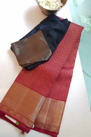 Maroon rich kancheepuram silk saree