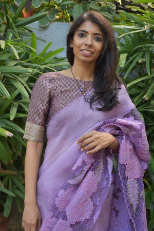 Mauve beige brocade silk blouse