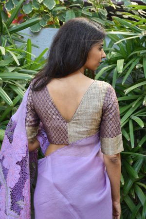 Mauve beige brocade silk blouse back