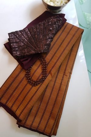 Mustard and wine stripes kanchi silk saree
