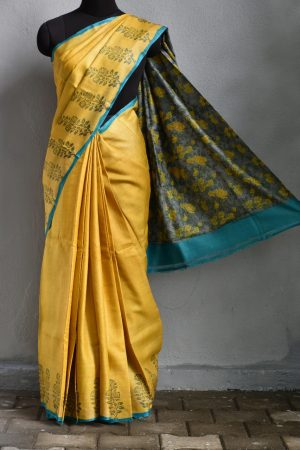 Mustard flower border print tussar saree 1