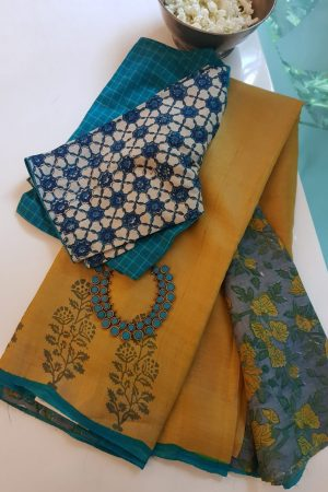 Mustard flower border print tussar saree