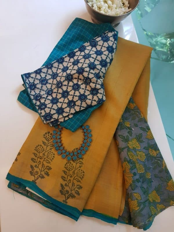Mustard flower border print tussar saree