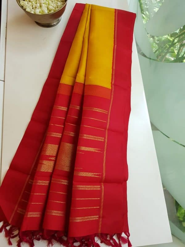 Mustard with red korvai kanchi silk dupatta