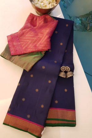 Navy blue butta kanchi silk saree