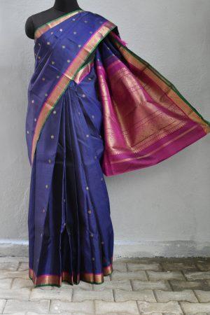 Navy blue butta kanchi silk saree1