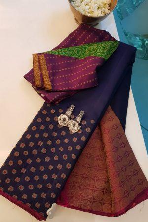 Navy blue flower border kanchi silk saree