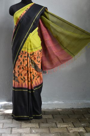 peach ganga jamuna kalamkai cotton with silk border saree