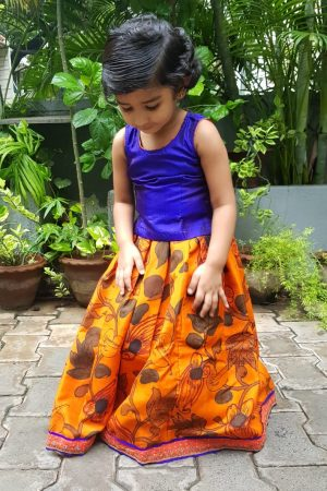 Orange blue kalamkari silk skirt set 1
