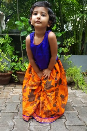 Orange blue kalamkari silk skirt set