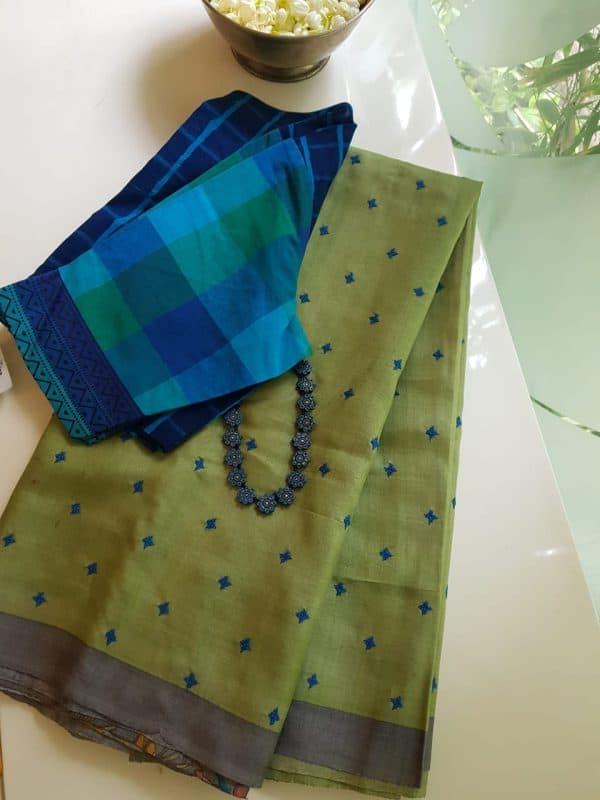 Pale green grey kutchwork block print tussar saree