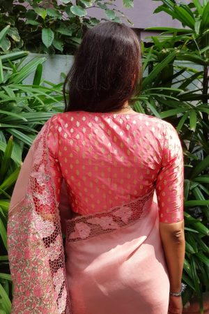 Peach silk brocade blouse back
