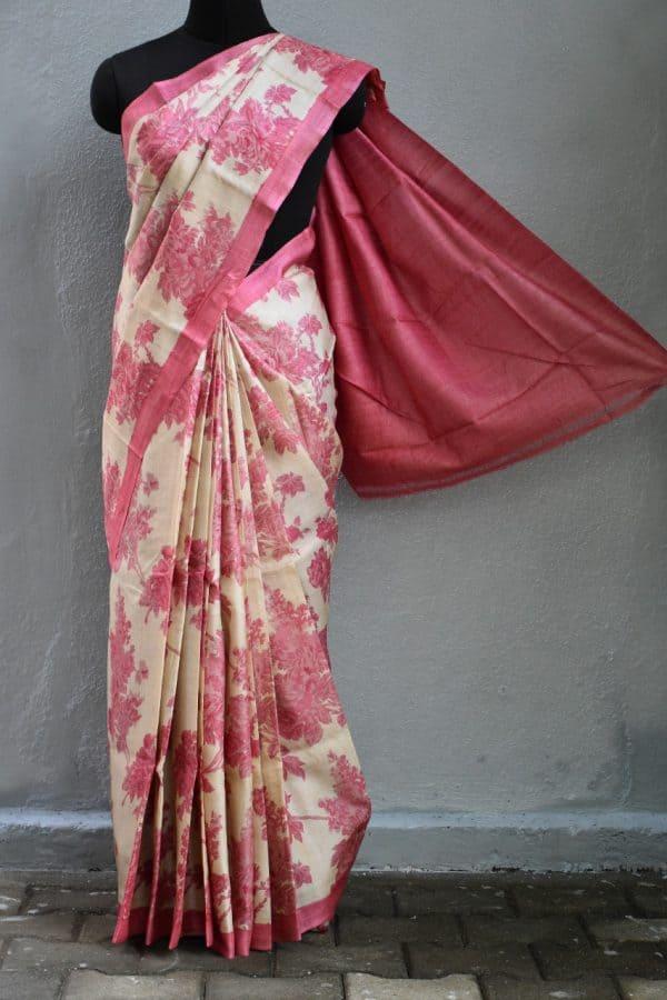 Pink beige floral tussar saree 1