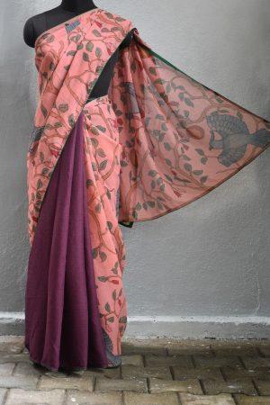 Pink burgundy chiffon kalamkari saree