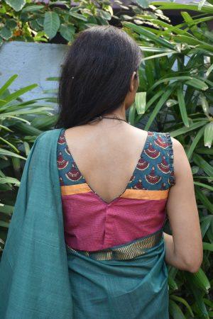 Pink checks cotton ajrakh blouse back
