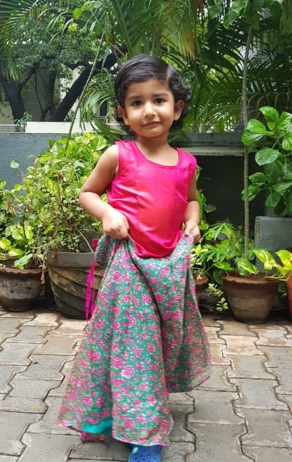 Pink green silk kota skirt set 1