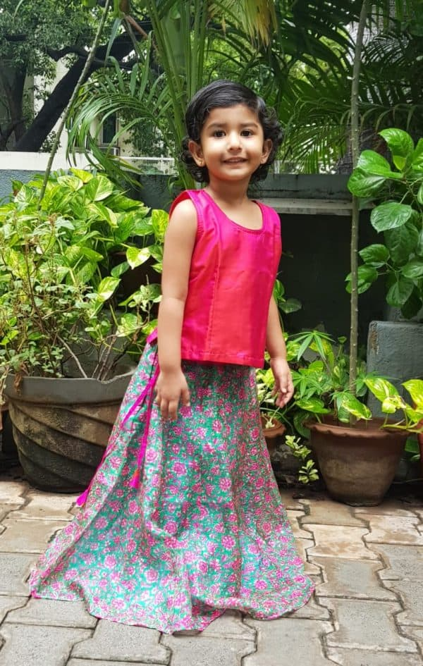 Pink green silk kota skirt set