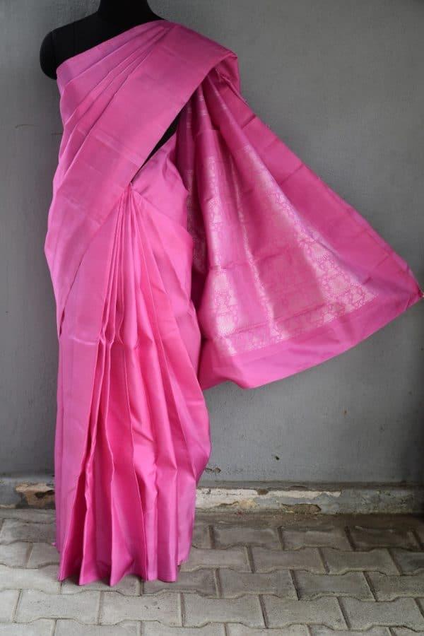 Pink kanchi silk with jhumka pallu 1