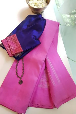 Pink kanchi silk with jhumka pallu