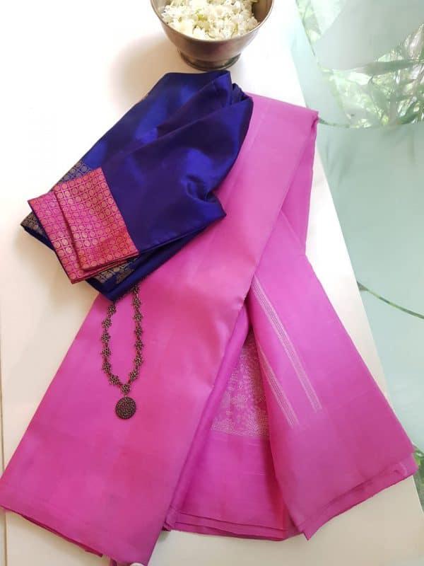 Pink kanchi silk with jhumka pallu