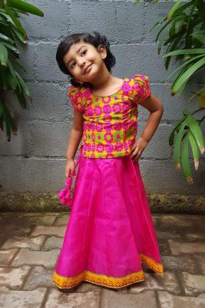 Pink silk skirt set 1