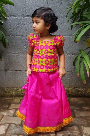 Pink silk skirt set