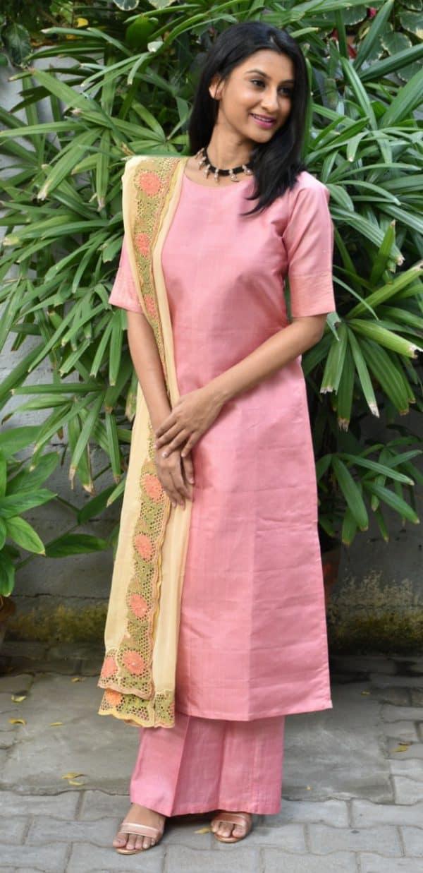 Pink silk suit wth cutwork dupatta