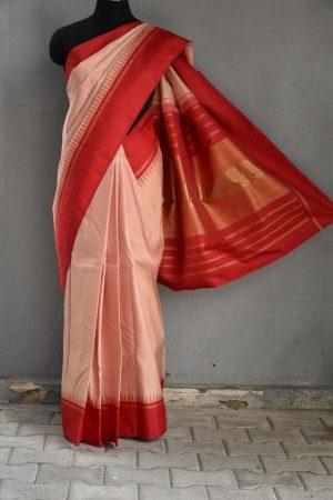 Plain dusty pink kanchi silk saree with korvai red pallu 1