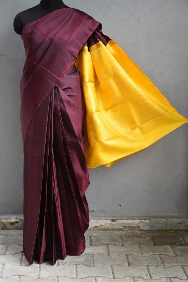 Plain maroon with mustard zari pallu blouse 1