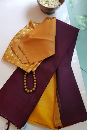 Plain maroon with mustard zari pallu blouse